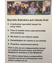 Banner stand showing Barratts clients