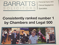 Banner stand showing Barratts logo