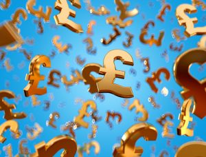 gold pound signs against blue background