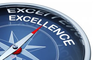 Excellence shown on a compass